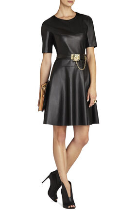 Darra Faux-Leather A-Line Dress
