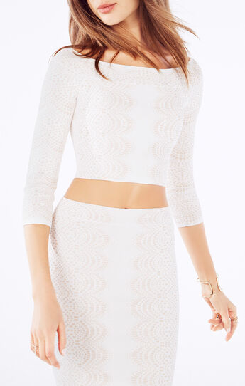 Anja Off-The-Shoulder Knit Jacquard Crop Top