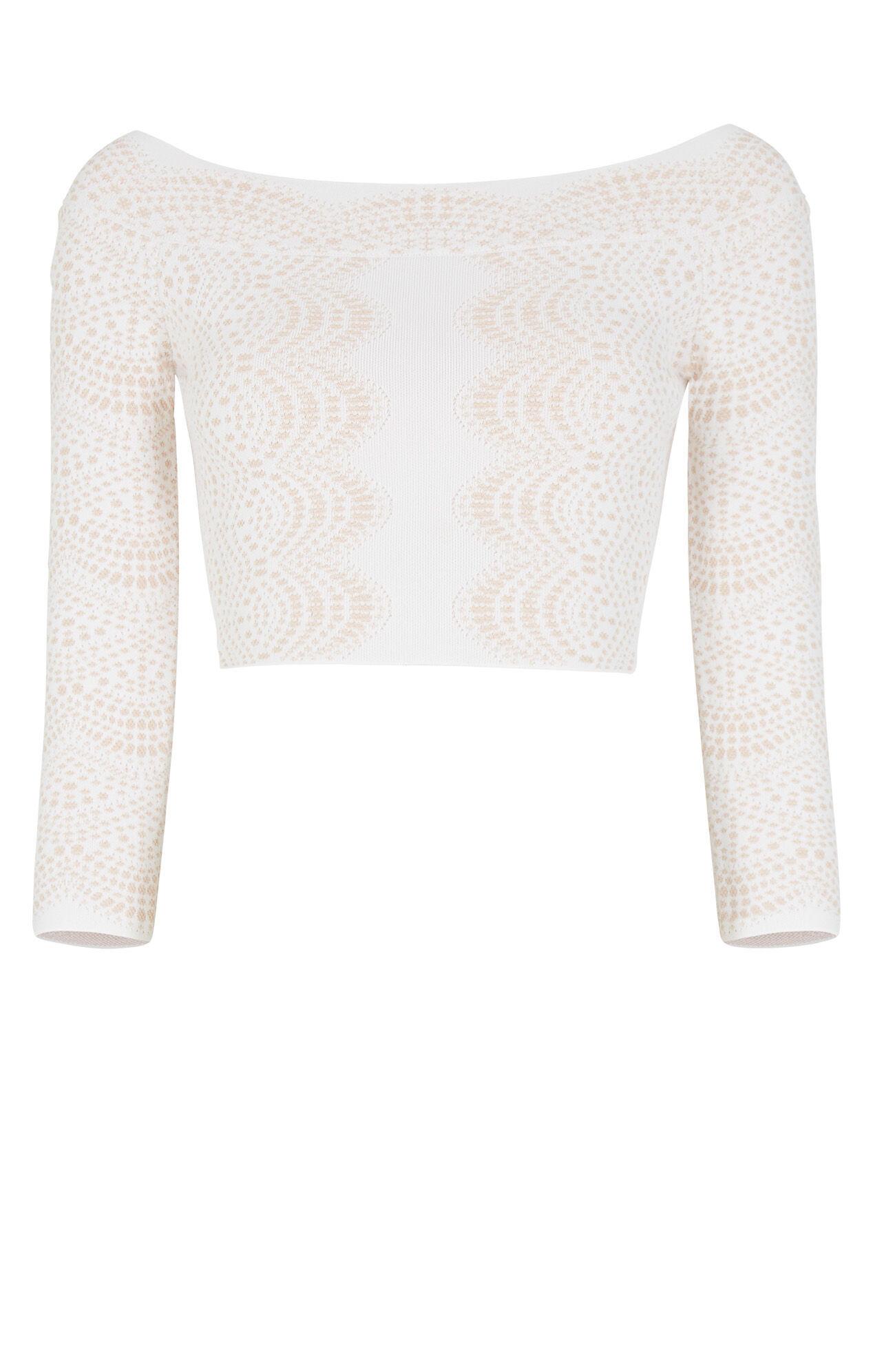 Anja Off-The-Shoulder Knit Jacquard Crop Top