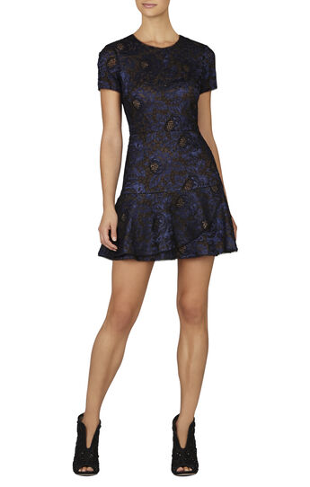 Marissa Short-Sleeve Flounce Dress