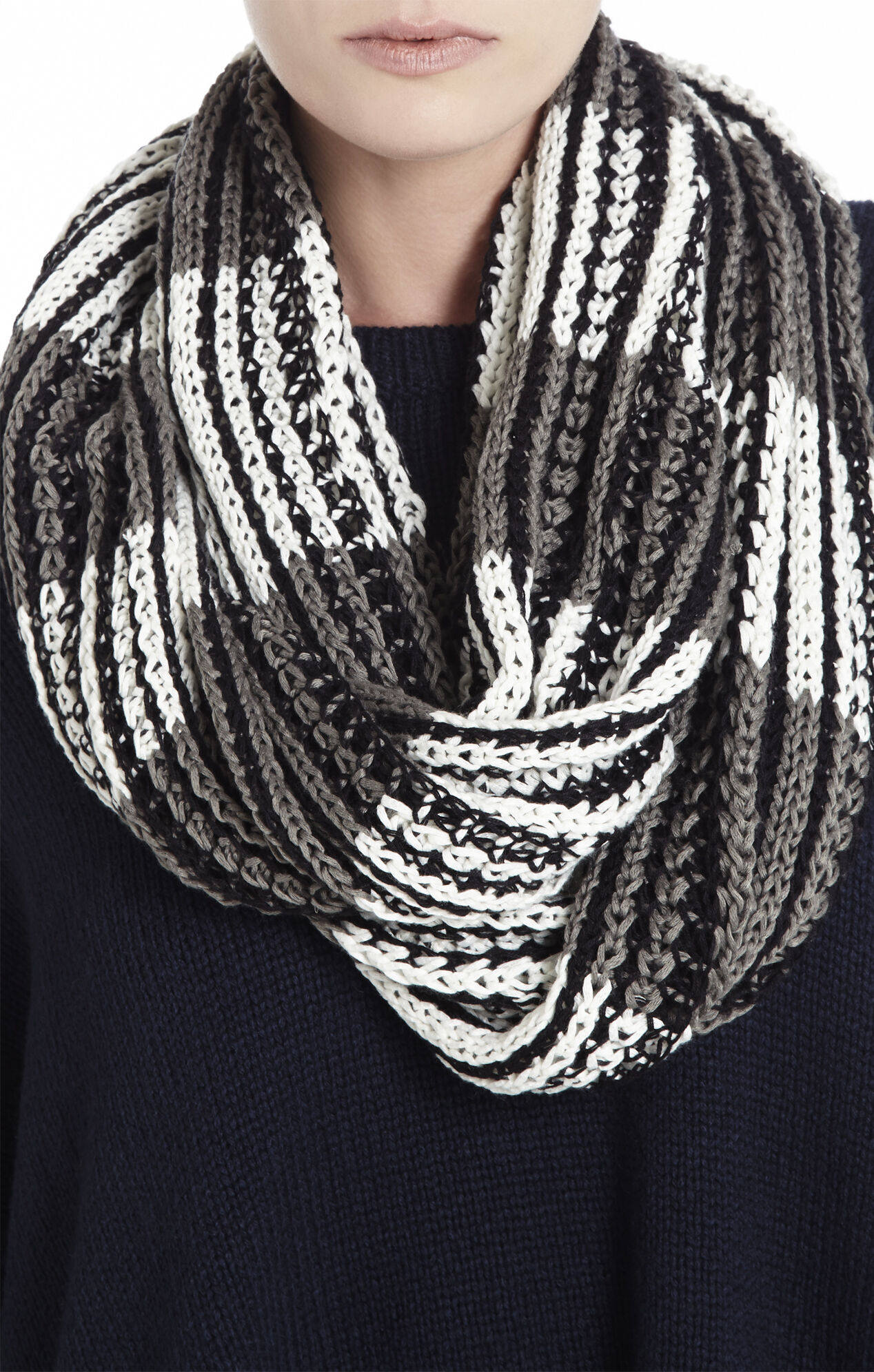 Color-Blocked Striped Infinity Scarf