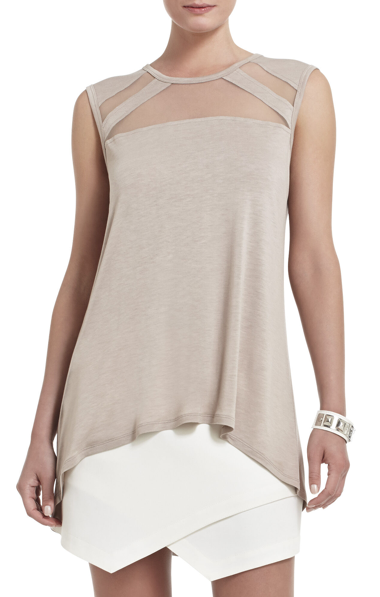 Reesie Sleeveless Tulle-Insert Top