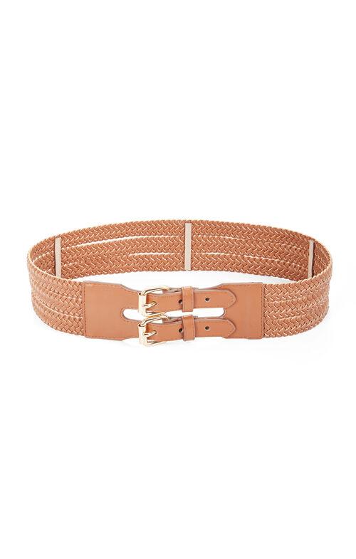 Double Buckle Faux-Leather Waist Belt