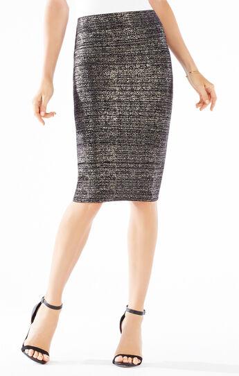 Foil Print Power Skirt