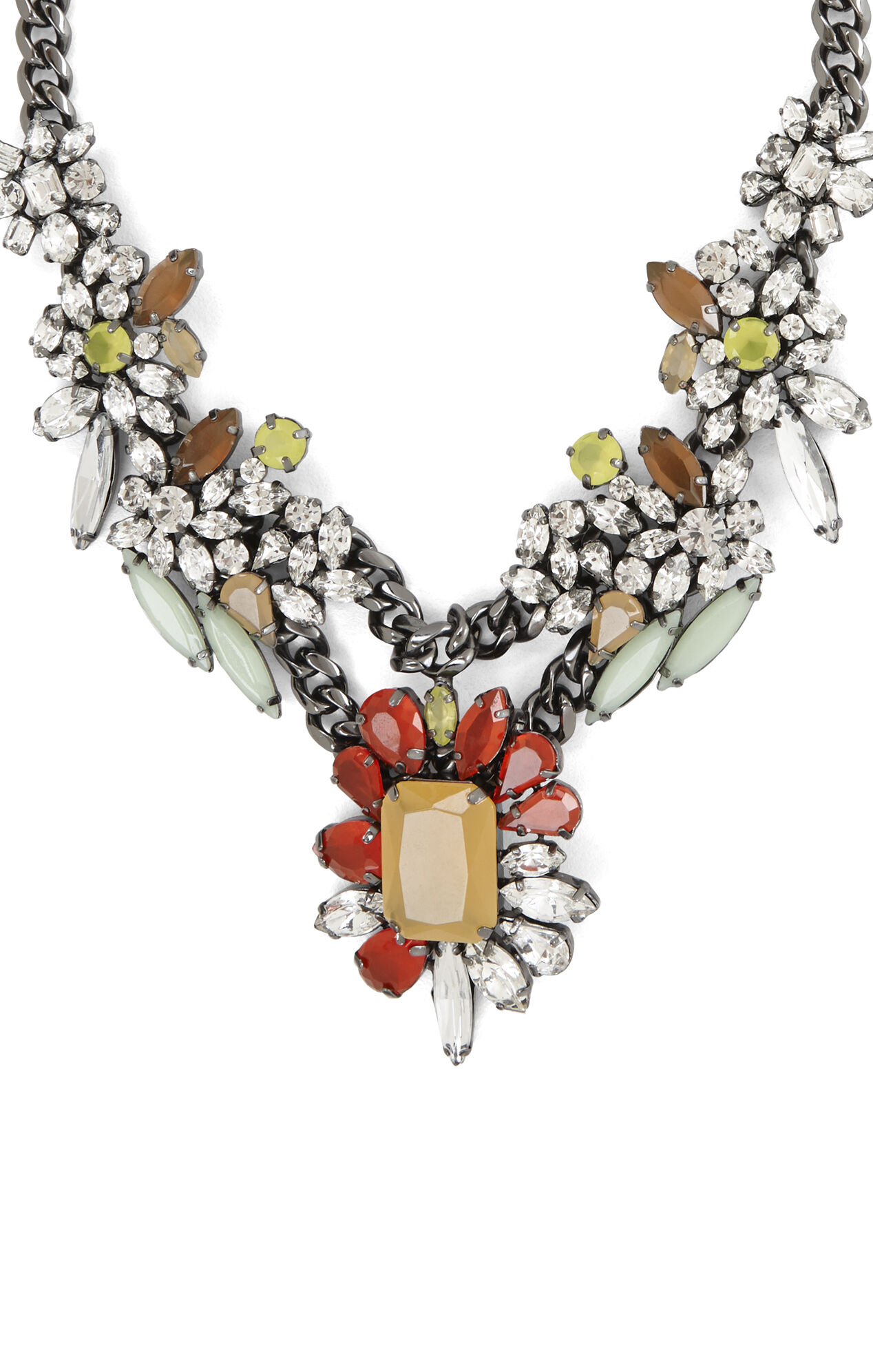 Multicolor Floral-Stone Necklace
