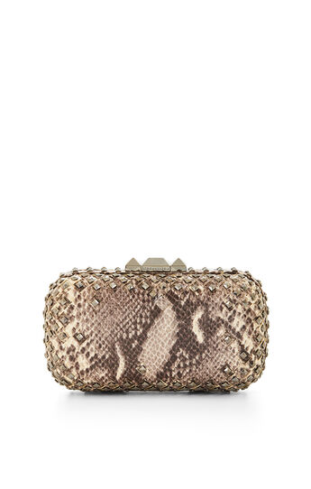 Kamile Studded Snake Print Faux-Leather Clutch