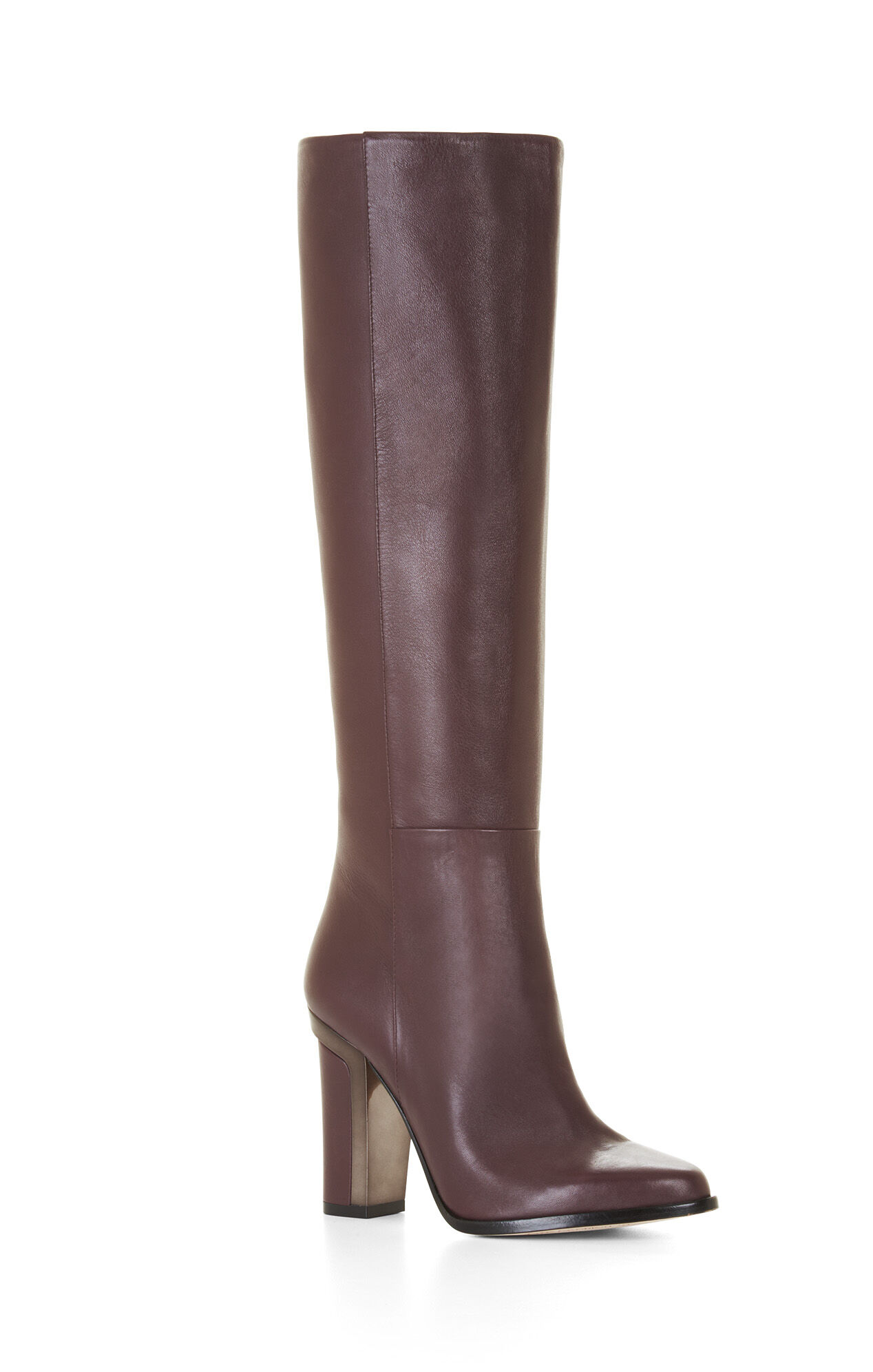 oak high heel leather knee boots