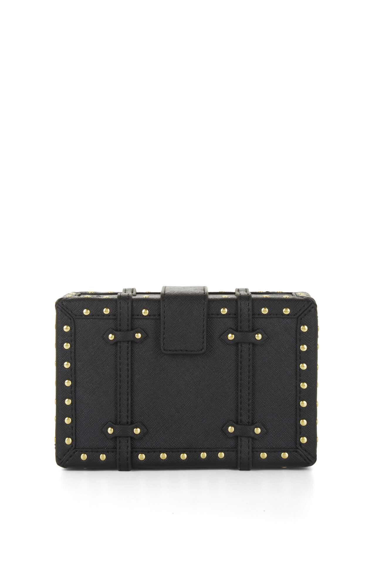 Daphne Studded Faux-Leather Luggage Clutch