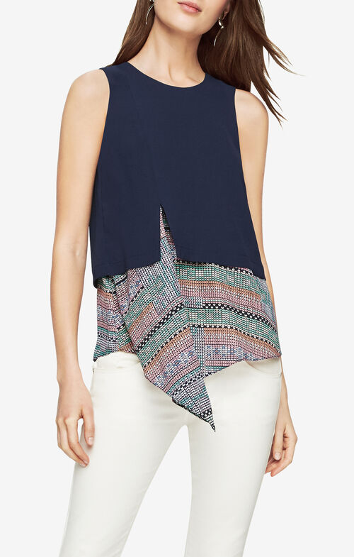 Jody Print-Blocked Asymmetrical Top