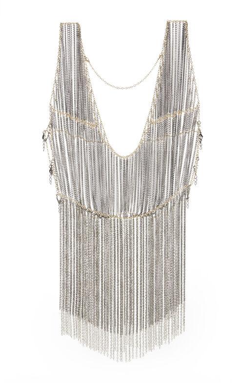 Peplum-Fringe Chain Vest