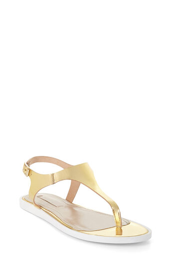 Jerrie Metallic Leather T-Strap Sandal