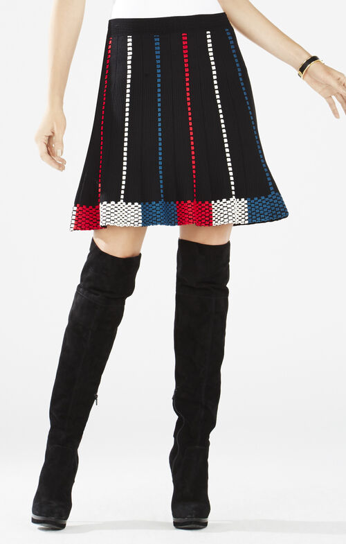 Queeny Dotted Knit Jacquard A-Line Skirt