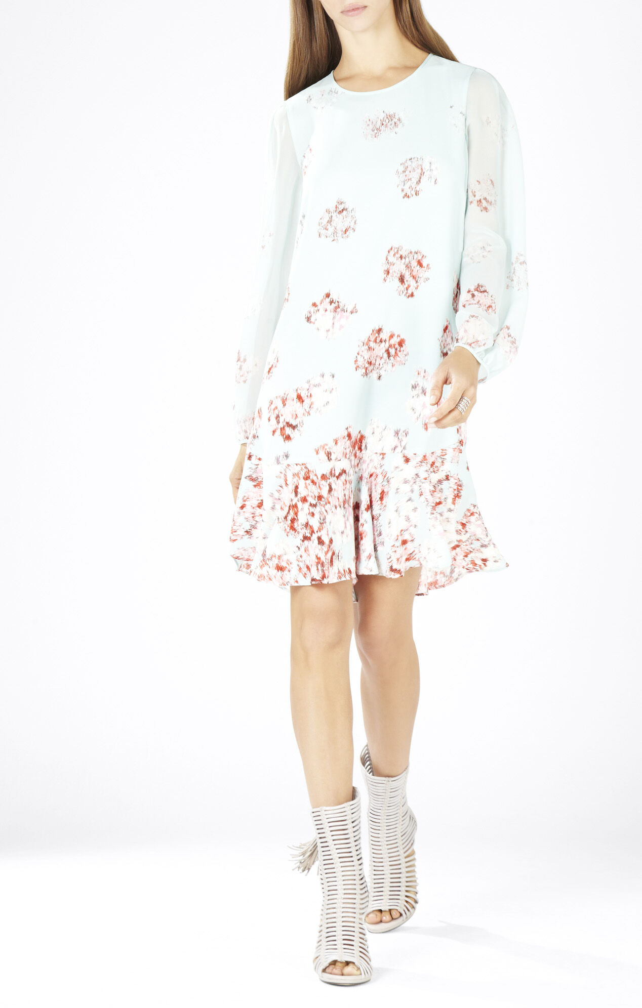 Bailee Long-Sleeve Flounce-Hem Dress