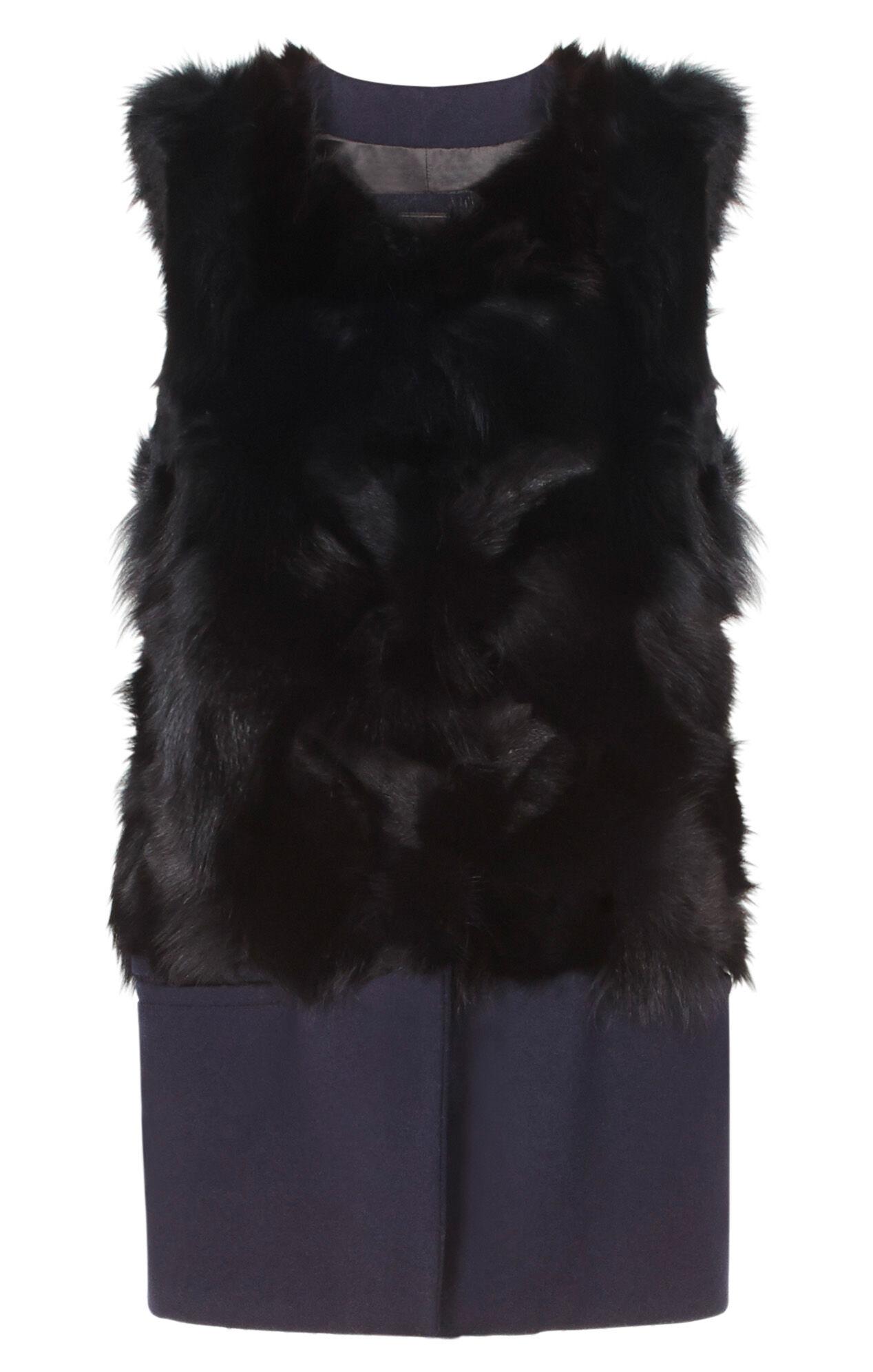 Remi Wool Blend Hem Fur Vest