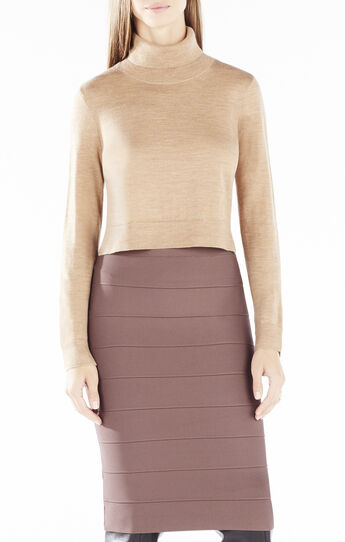 Natassia Cropped Turtleneck Wool Sweater