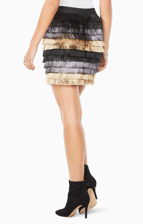 Christal Metallic Fringe Skirt