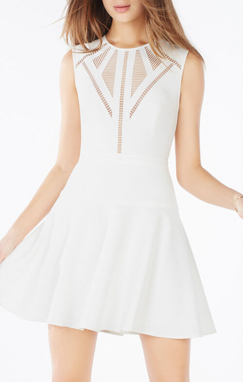 Aynn Embroidered Sheer-Trim Dress