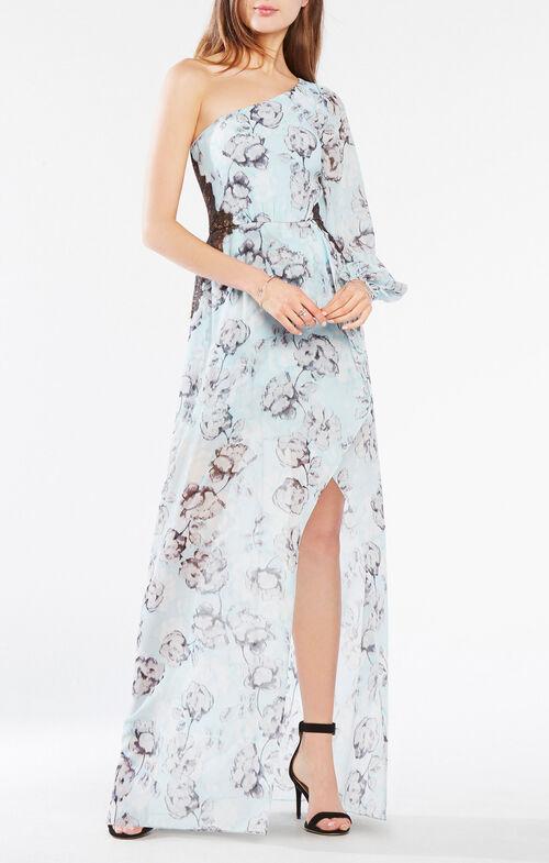 Sandy One-Shoulder Floral Print Gown