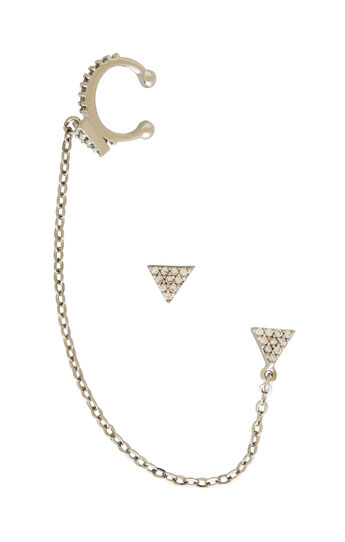 Pave Triangle Chain Ear Cuff Crawler