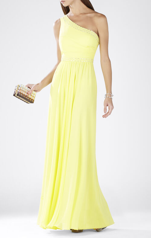 Daniele One-Shoulder Embellished Gown