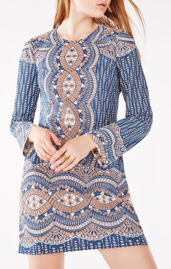 Allina Burnout Deco Print Mesh Dress