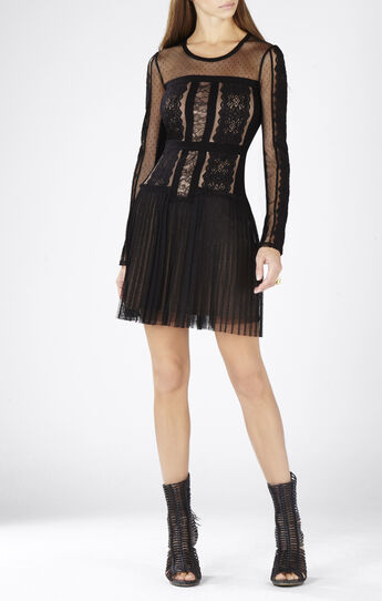 Stef Lace-Blocked Long-Sleeve Dress