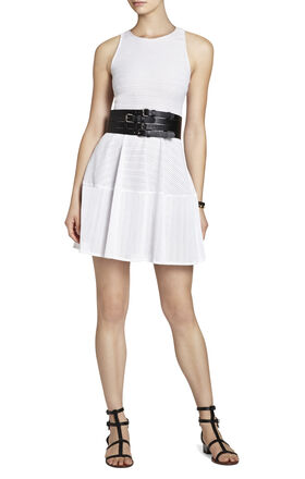 Cassandra Sleeveless A-Line Eyelet Dress