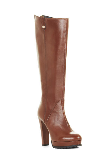 Kaelin High-Heel Platform Leather Knee Boots