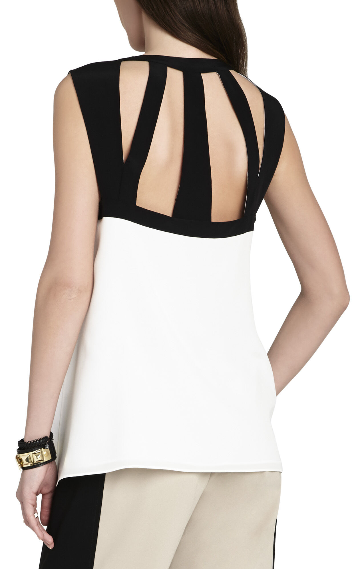 Laurenne Cutout Sleeveless Silk Top