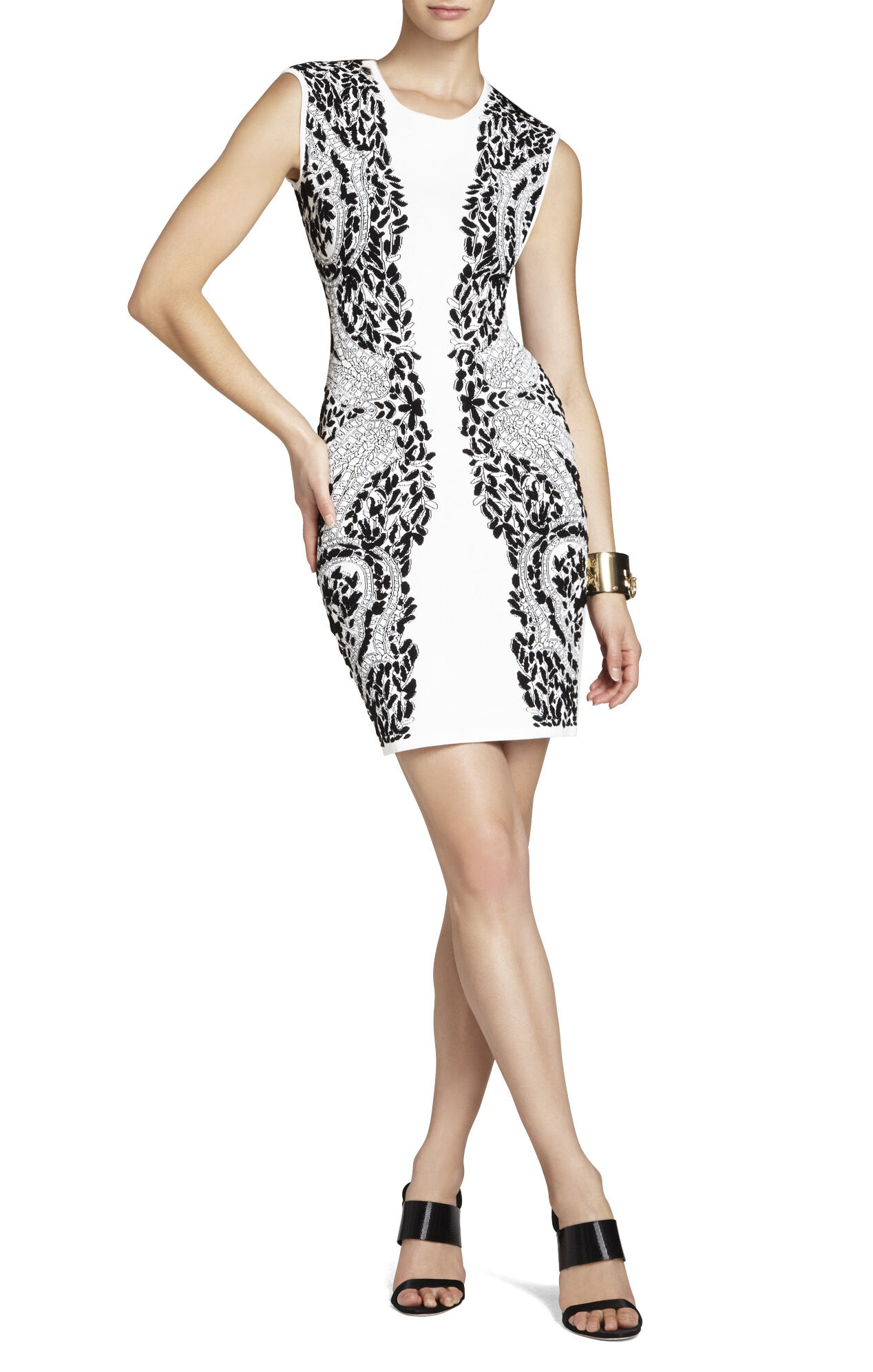 Konnie Embroidered-Filigree Diamond Jacquard Dress