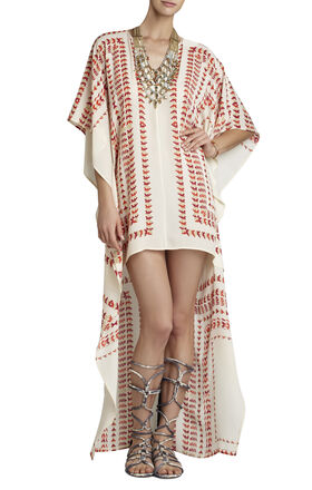 Cristen Printed High-Low Hem Poncho