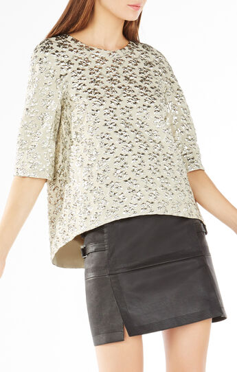 Rowen Cloque Metallic Jacquard Top