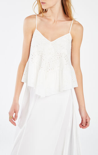Hanae Embroidered Eyelet Ruffle Tank Top