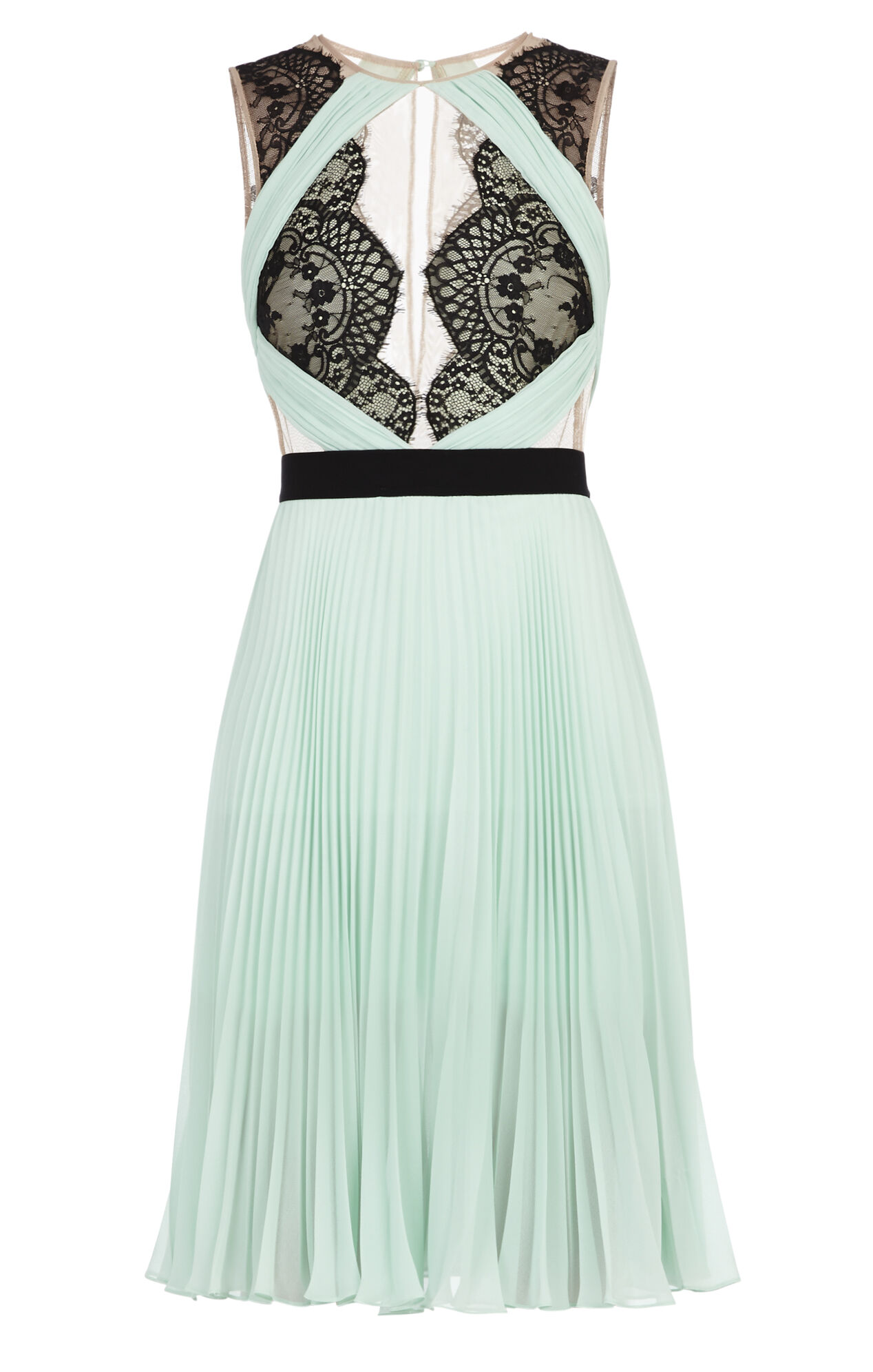 Arianne Scalloped-Edge Pleated Dress
