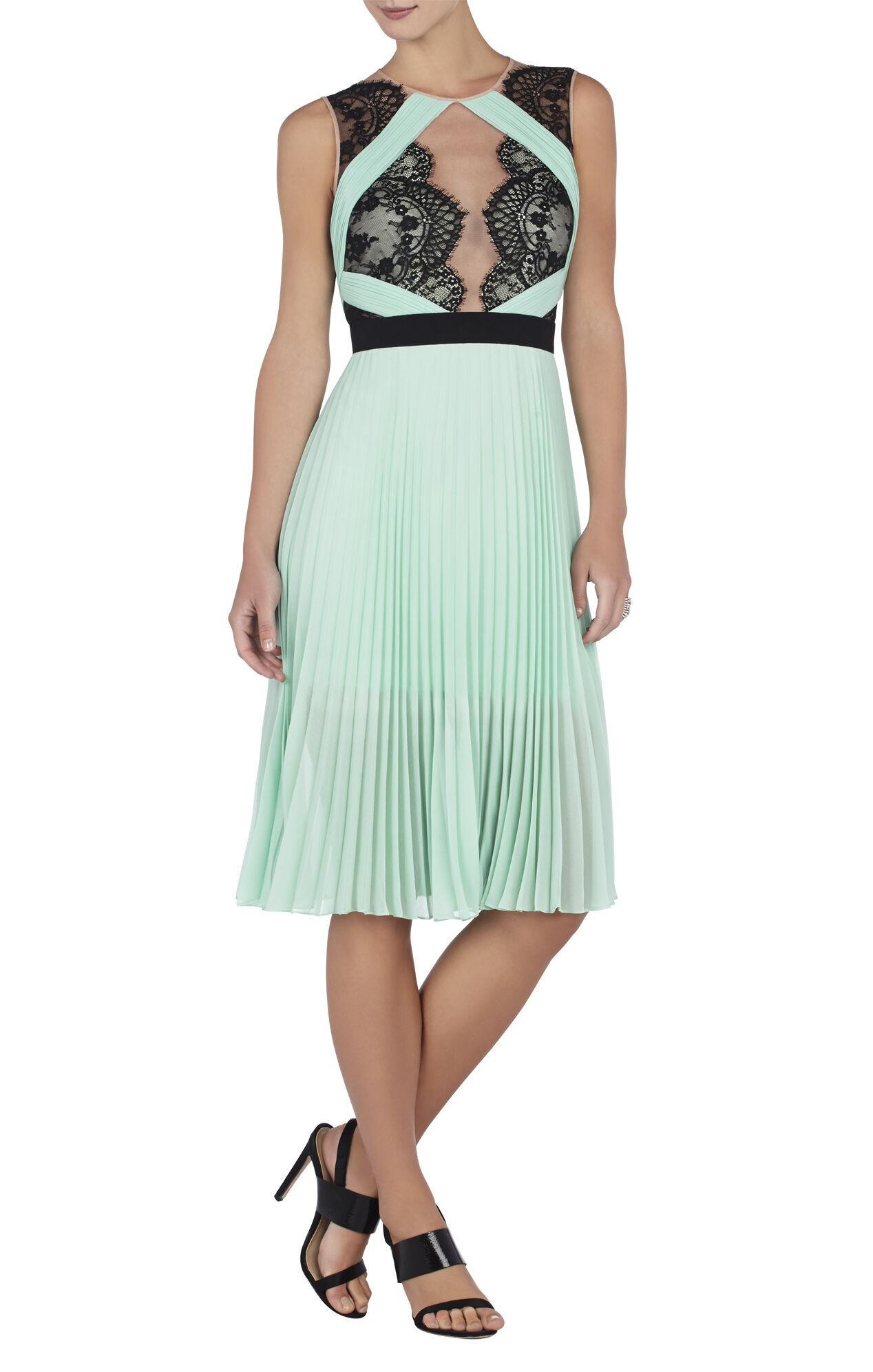 Arianne Scalloped-Edge Pleated Dress