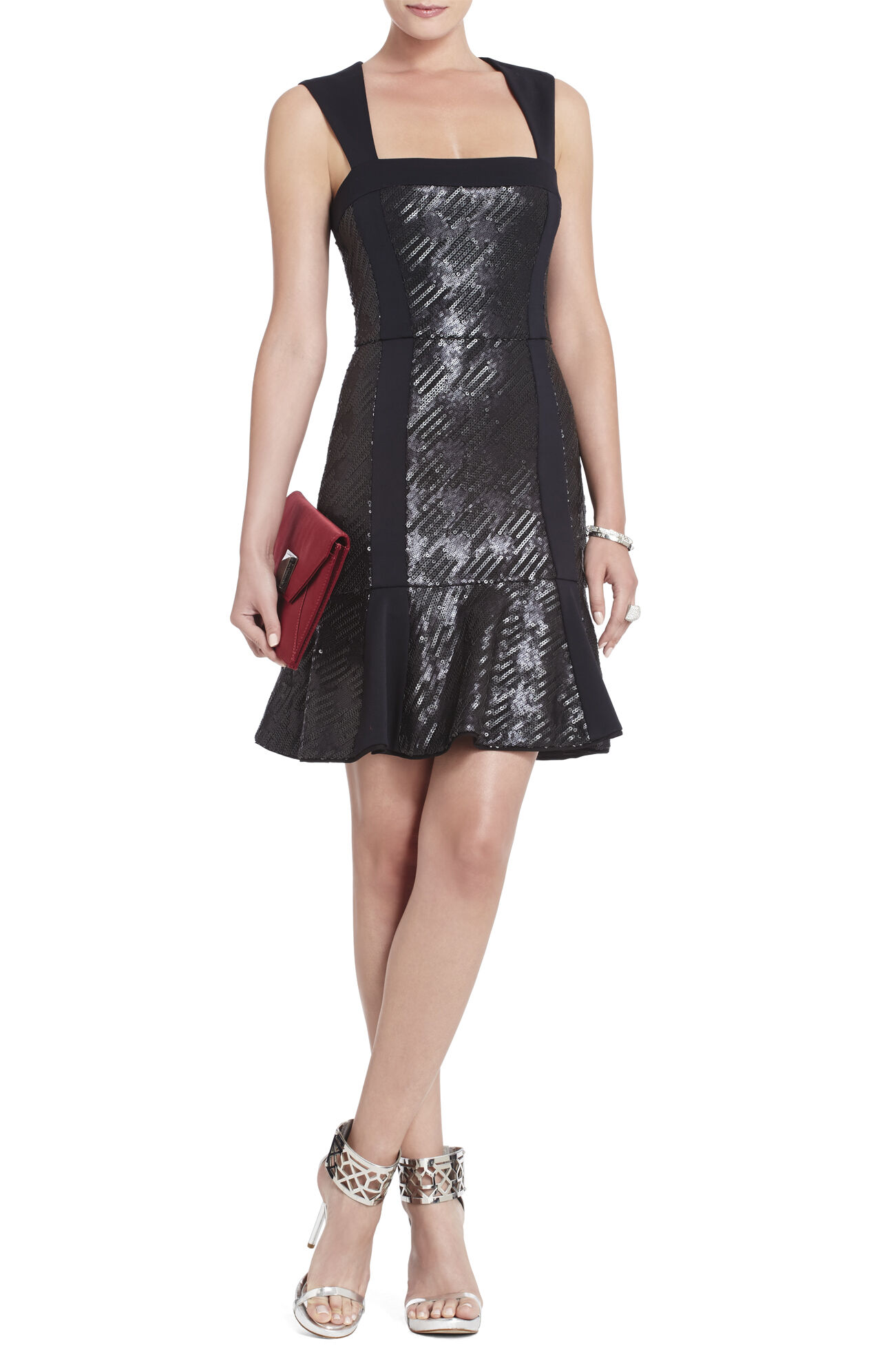 Noelle Fitted Sequined Flounce Dress