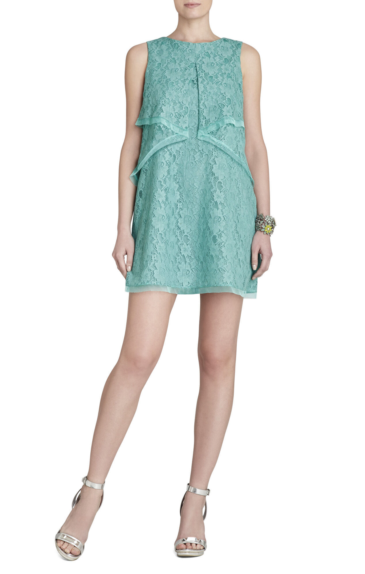 Amelie Draped Sleeveless Lace Dress