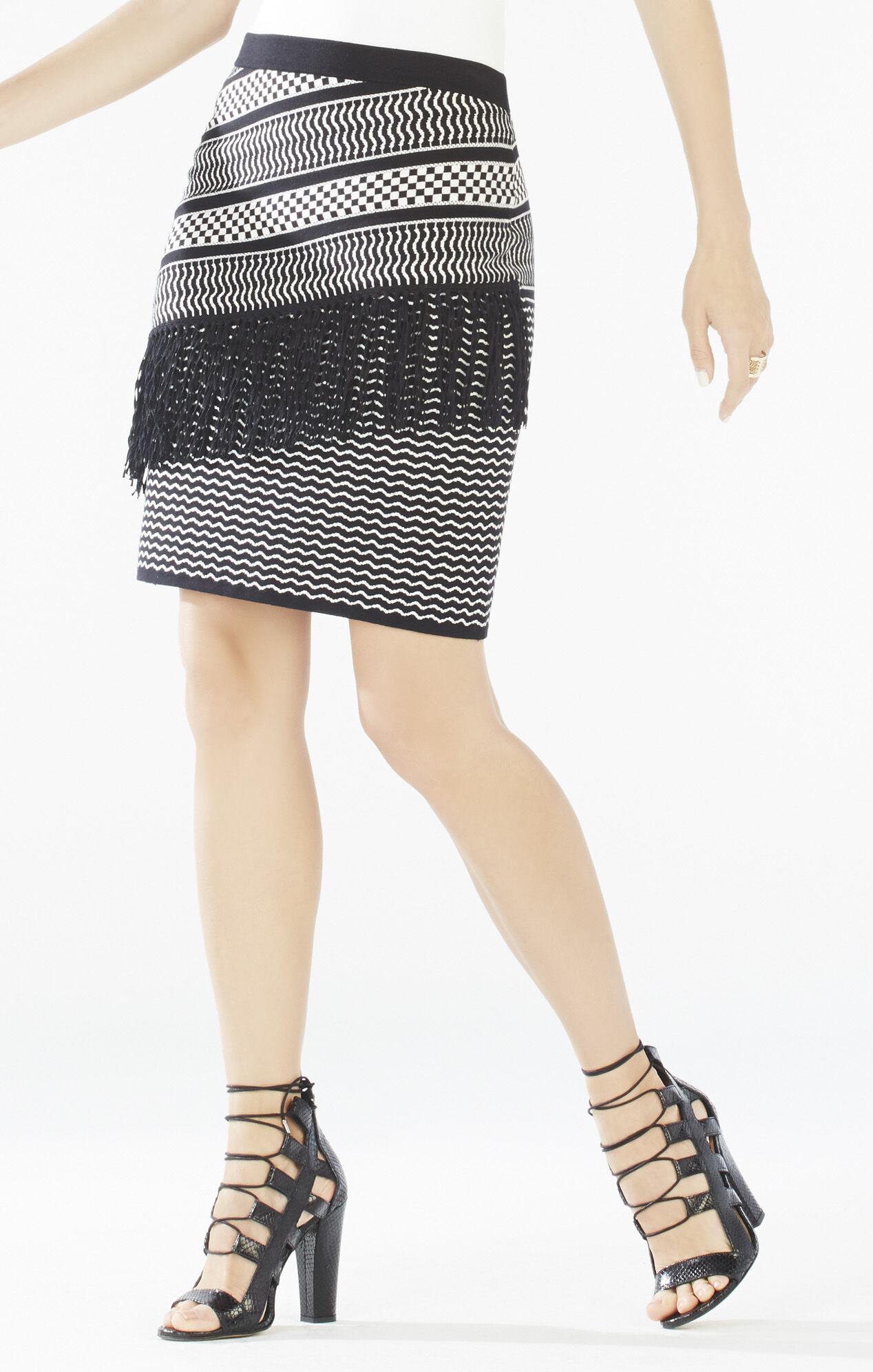 Brionna Fringe Knit Jacquard Pencil Skirt