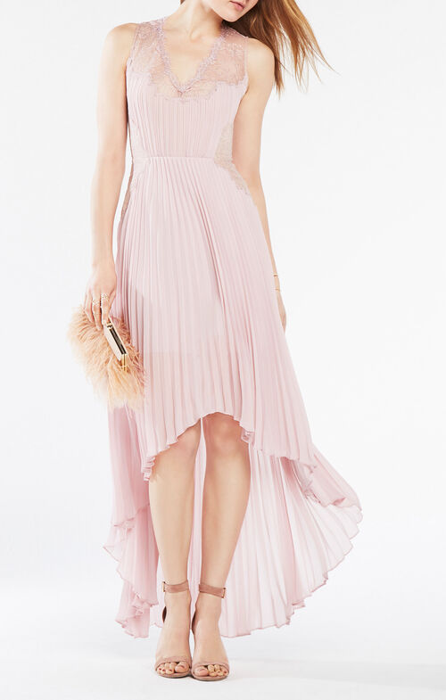 Angelea Pleated High-Low Dress