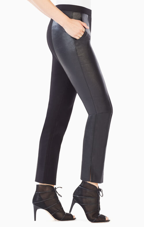 Brennan Faux-Leather-Blocked Trouser
