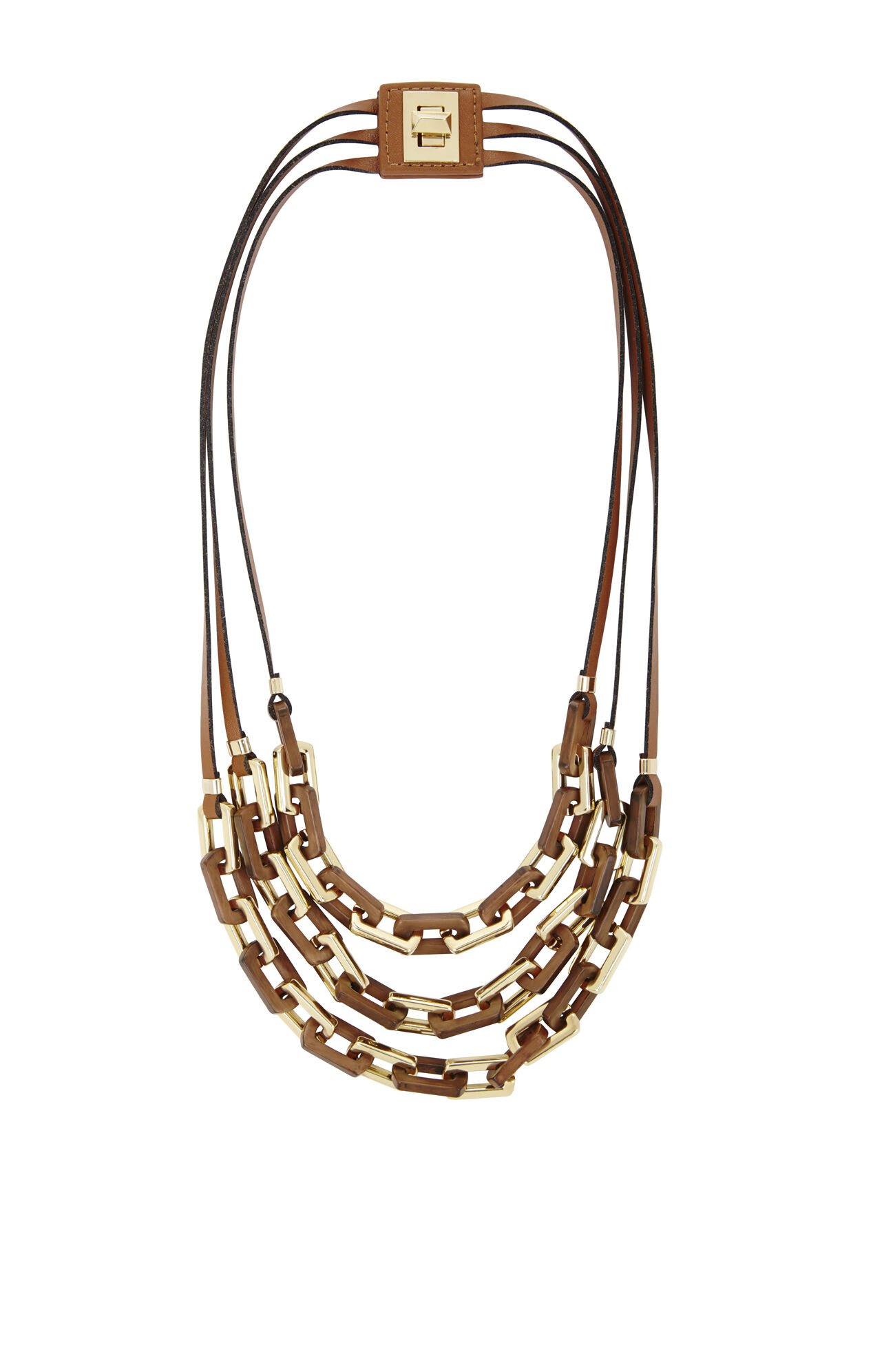 Wood-Chain Faux-Leather Necklace