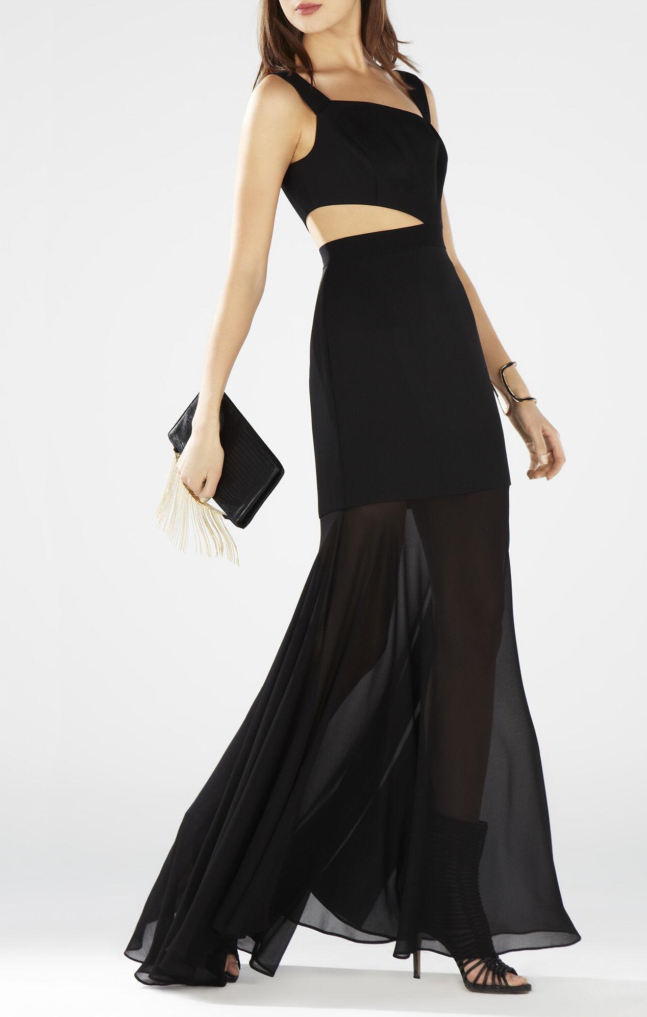 Roxana One-Shoulder Cutout-Waist Gown