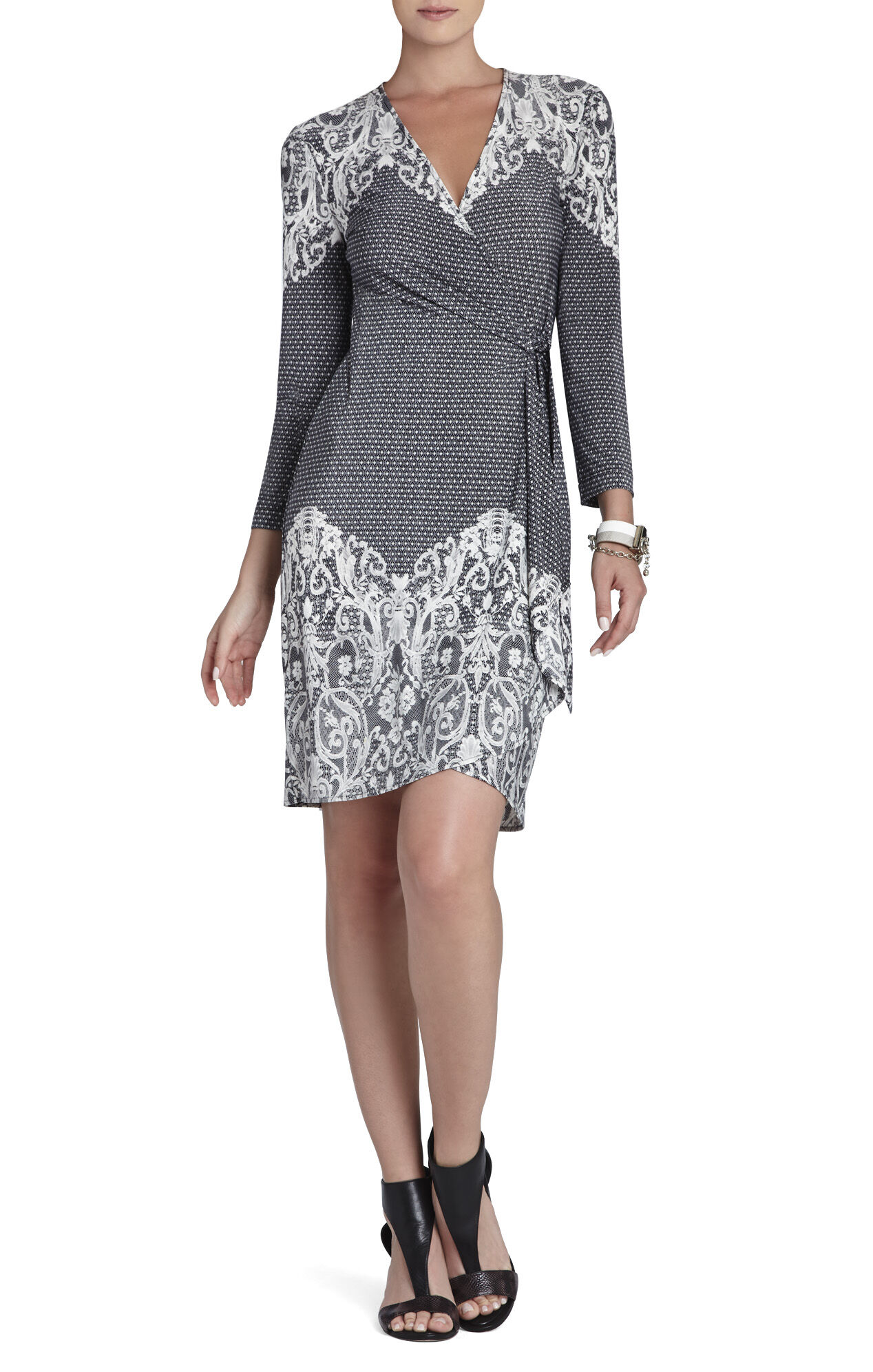 Adele Lace-Printed Wrap Dress