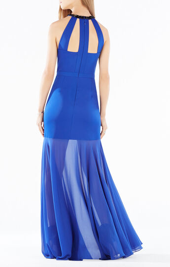 Leonara Beaded Halter Sheer Hem Gown