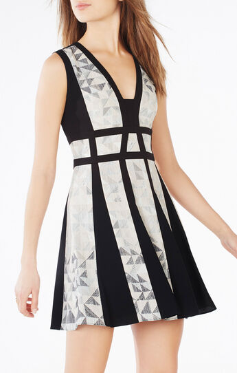 Val Triangle Print-Blocked Dress