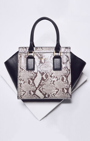 Joslyn Snake Print Leather Satchel