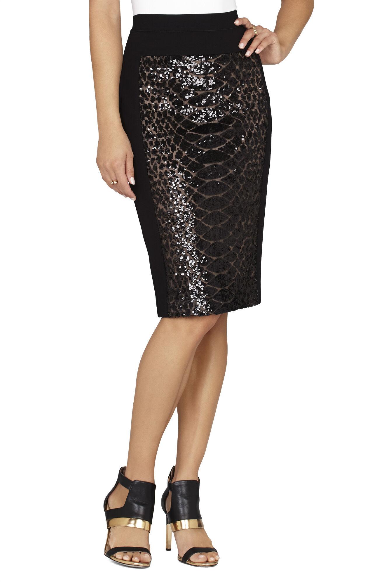 Aideen Snake Sequin Pencil Skirt