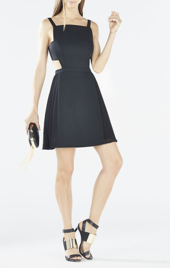 Brielle Open-Back Side-Pleated Dress