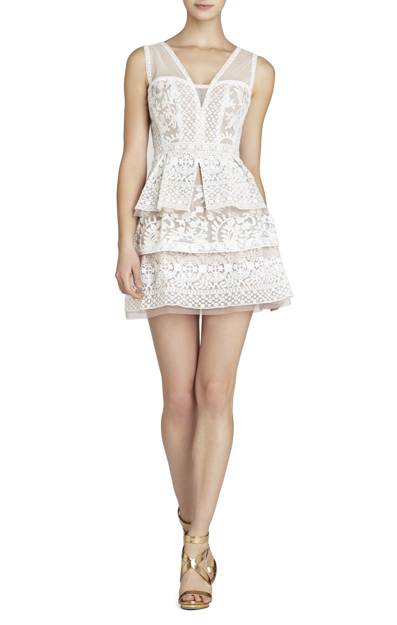 Fola V-Neck Lace Tiered Dress