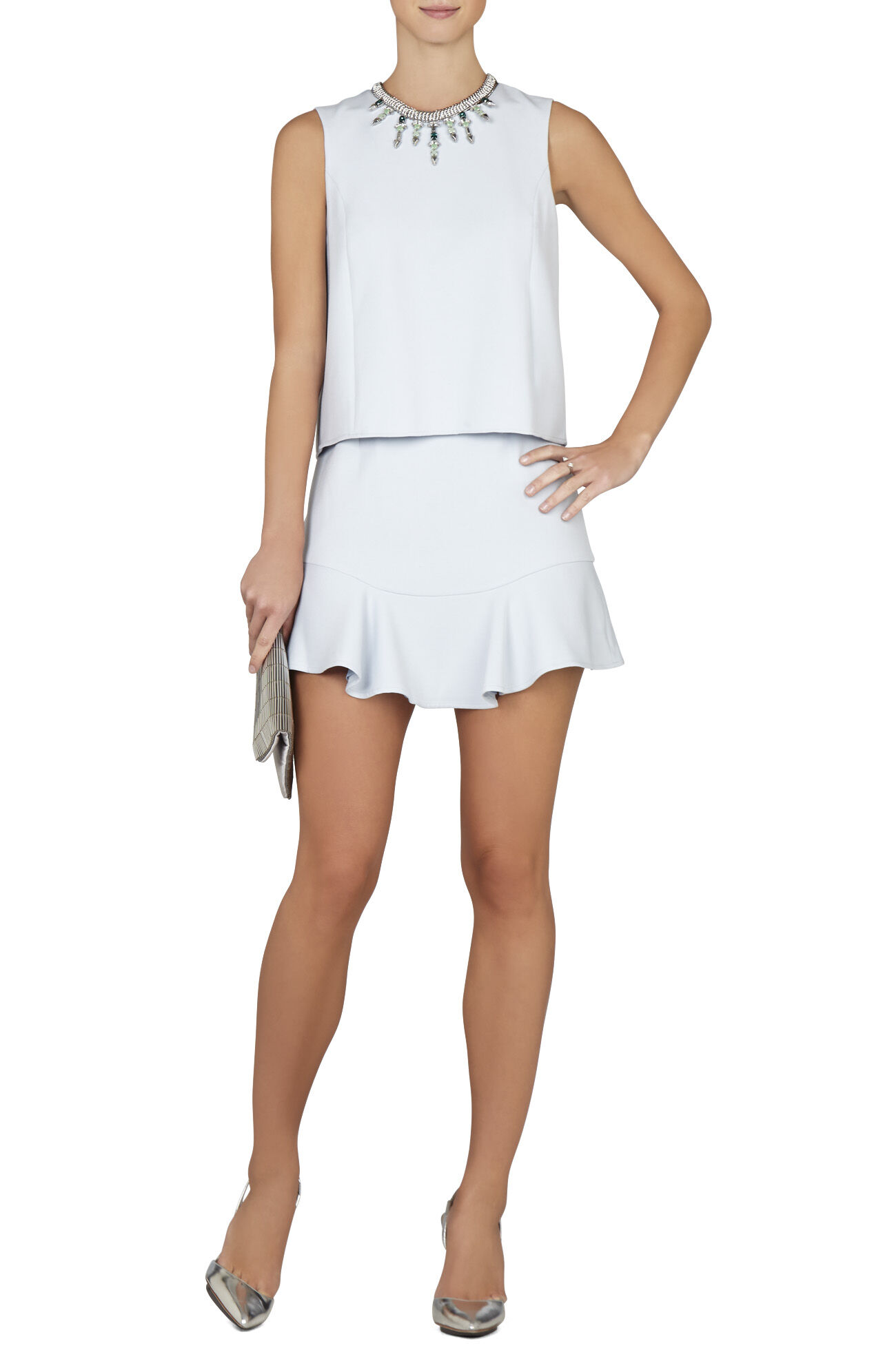 Vivian Sleeveless Ruffled-Hem Dress